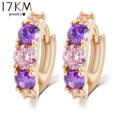 17 키로메터 뜨거운 판매 패션 매력 성격 합금 골드 컬러 퍼플 크리스탈 귀걸이 보석 라운드 지르코니아 디자인 귀걸이
