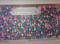 "Music in our schools month display!  ""give music a hand"""
