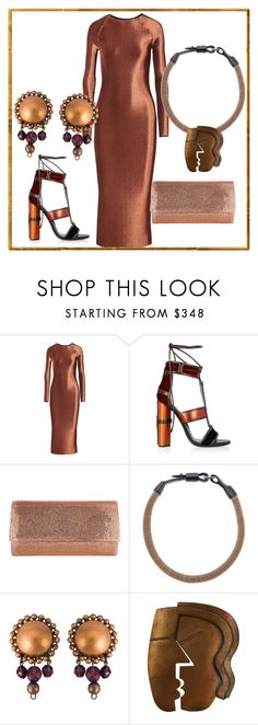 """""""Copper Head"""" by engleann ❤ liked on Polyvore featuring Barbara Casasola, Tom Ford, Judith Leiber, Brunello Cucinelli and Jean-Paul Gaultier"""