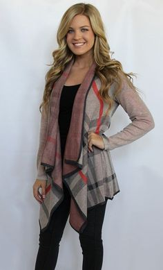 Taupe, Red and Black Striped Cardigan