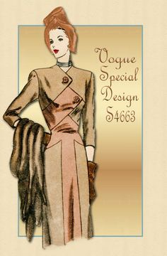 Vintage 1940s Dress Pattern Vogue Special Design S-4663-Unique bodice and skirt