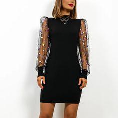Buy Cheap Sexy Dress Women Club Wear Bodycon Dress Casual Dot Printed Mesh Patchwork Turtleneck Long Sleeve Women Dress Online - Hplify
