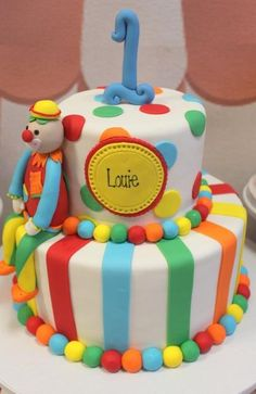 boy's first birthday circus cake