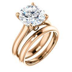 10kt Rose Gold 10mm Center Imitation Diamond And 2 Accent Round Diamonds Bridal Ring Set...(ST122797:280:P).! Price: $449.99 #10kt #gold #imitaiondiamond #bridalset