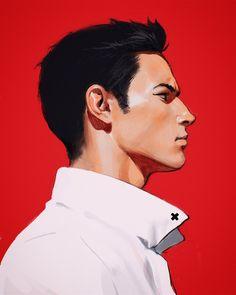 red wine by Kuvshinov-Ilya on DeviantArt Digital Portrait, Portrait Art, Portrait Lighting, Character Portraits, Character Art, Boichi Manga, Art Sketches, Art Drawings, M Anime