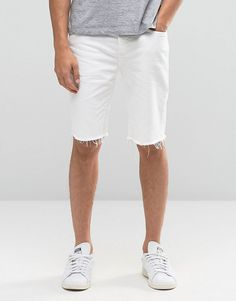 River+Island+Denim+Shorts+With+Raw+Hem+In+Slim+Fit+White