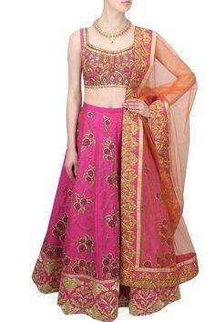 Pink & Gold Floral Zardozi & Zari Embroidered Bridal Lehenga Set