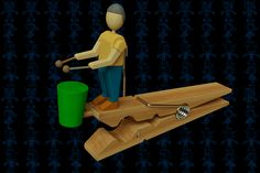 Clothespin Drummer Wooden Toy - Autodesk 3ds Max,STEP / IGES,SOLIDWORKS,Parasolid,AutoCAD - 3D CAD model - GrabCAD