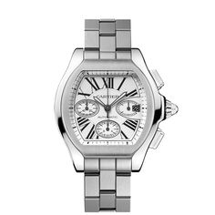 The Roadster watch is inspired by the world of 1950s car racing. The streamlined dial of the steel case is a trademark of the era, while the sword-shaped luminescent hands, Roman numerals and sapphire crystal are signature Cartier features. Adorned with a white or pink satin-finish dial, the Roadster will equally delight any male or female. Call Ryan for VIP price 888.432.4367 Roadster S watch, extra-large modelAutomatic, steel REF:W6206019