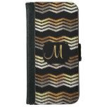 Monogram - Gold & Black Ikat Chevron Design Wallet Phone Case For iPhone 6/6s