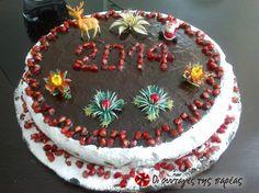 Βασιλόπιτα με χοντροκομμένα καρύδια Vasilopita Cake, New Year's Cake, Fantasy Cake, Greek Recipes, Christmas Decorations, Birthday Cake, Baking, Sweet, Desserts