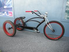 Custom Rat Rod Stretch Cruiser Trike Okay, I'm cheating & including trikes. Tricycle Bike, Trike Bicycle, Cruiser Bicycle, Motorized Bicycle, Cool Bicycles, Cool Bikes, Custom Trikes, Push Bikes, Lowrider Bike