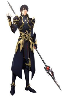 Soldier with lance and black and gold armor Male Character, Fantasy Character Design, Character Portraits, Character Concept, Character Inspiration, Fantasy Armor, Anime Fantasy, Dnd Characters, Fantasy Characters