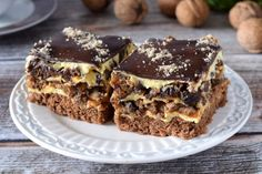 Dessert Bars, Dessert Recipes, Desserts, Grilled Ham And Cheese, Vegetarian Recipes, Cooking Recipes, Kolaci I Torte, Polish Recipes, How Sweet Eats
