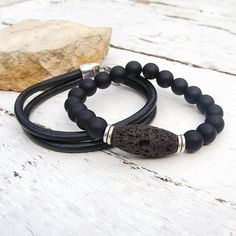 Leather bracelet, Mala bracelet, Mens natural brown lava and leather bracelet set, Yoga, Meditation, Boho bracelet set for men
