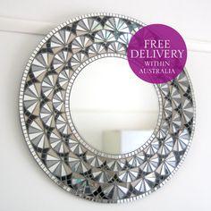 62cm Diameter Round Mosaic Mirror Deco Bloom by MirrorEnvy