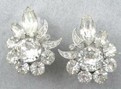 Eisenberg Crystal Rhinestone Earrings - Garden Party Collection Vintage Jewelry