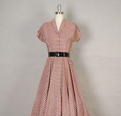 vintage 1940's salmon and grey stripe day dress  Vivian