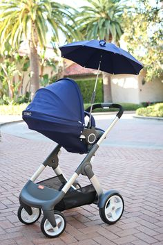 StylishPetite.com | Milan's Nursery Reveal featuring Stokke Crusi Stroller in Deep Blue with Parasol Accessory
