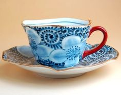 Flower and TAKOKARAKUSA design Coffee cup & saucer