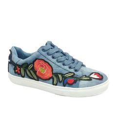 Take a look at this Mary Ann Denim Floral-Embroidered Sneaker today!