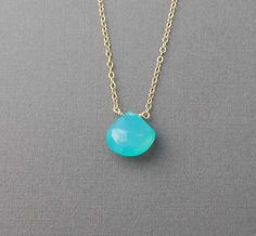 Chalcedony Blue Drop available in gold or silver by jennijewel, $22.00