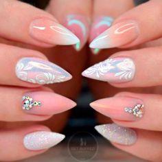 Classy Nails, Fancy Nails, Stylish Nails, Cute Acrylic Nail Designs, Cute Acrylic Nails, Nail Art Designs, Art Nails, Nude Nails, Stiletto Nails
