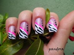 Zebra french by pandora_nails - Nail Art Gallery nailartgallery.nailsmag.com by Nails Magazine www.nailsmag.com #nailart