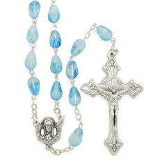 Round Faux Opal Swarovski Crystal Sterling Silver Rosary