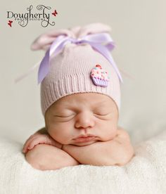 Newborn Hat Upcycled Pink and Purple Cupcake Hat Photography Prop. $17.00, via Etsy.