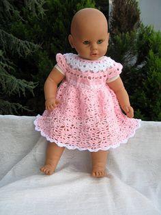 Crochet Baby Dress Crochet Baby Dress Pattern, Baby Clothing, Baby Girl Dress p… Crochet Dress Girl, Crochet Baby Dress Pattern, Baby Girl Dress Patterns, Baby Girl Crochet, Crochet Doll Clothes, Doll Clothes Patterns, Baby Patterns, American Girl, Crochet Tutorial