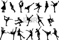 pattinare: Ice skating silhouette - vector Ice Skating Party, Skate Party, Silhouette Images, Silhouette Vector, Figure Sketching, Figure Drawing, Roller Disco, Pose Reference, Drawing Reference
