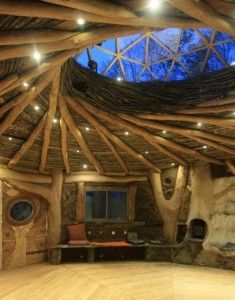 Stunning reciprocal roof with geodesic dome skylight