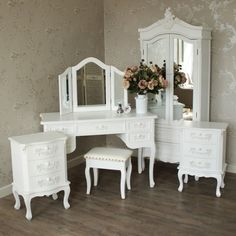 6 Piece Bedroom Set – Pays Blanc Range Pays Blanc Range – Furniture Bundle, Antique White Closet, Dressing Table, Mirror, Stool and 2 Bedside Tables Vintage Bedroom Sets, Vintage Bedroom Styles, White Bedroom Set, Vintage Bedroom Furniture, Shabby Chic Furniture, Bedroom Decor, Furniture Ideas, Furniture Makeover, White Bedroom Furniture Sets