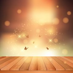 Wooden floor and butterflies Free Vector