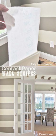 A feature DIY contact paper stripe wall doesn't have to be painted.
