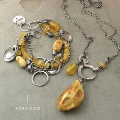 Necklace raw sterling silver and baltic amber  oxidized