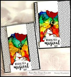 fun rainbow backrounds created with Alcohol ink, Paper Rose studio magical day stamp set