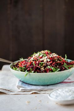 Raw beetroot and carrot salad with herbs, seeds and nuts & a yoghurt and fennel dressing   DrizzleandDip.com