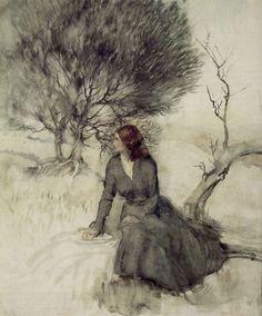Girl Beside a Stream - Arthur Rackham (1867-1939) Arthur Rackham was among the leading artists associated with the Golden Age of Fantasy Illustration.