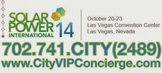 Solar Energy Trade Show 2014 at The Las Vegas Convention Center Tuesday October 21st - Thursday October 23rd. Contact 702.741.2489 City VIP Concierge for Transportation, Nightclub Table & Bottle Service, Show Tickets and the Best of Any & Everything Fabulous in Las Vegas. #SolarEnergyLasVegas #VegasSolarEnergyShow #VegasConventions #VegasTradeShows #LasVegasTradeShows #LasVegasConventions #CityVIPConcierge CALL OR CLICK TO BOOK www.CityVIPConcierge.com