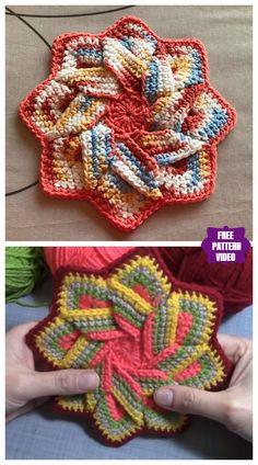 new Ideas crochet coasters pattern flower hot pads Crochet Mandala, Crochet Flower Patterns, Crochet Flowers, Knitting Patterns, Pattern Flower, Crochet Appliques, Mandala Pattern, Crochet Dishcloths, Crochet Stitches