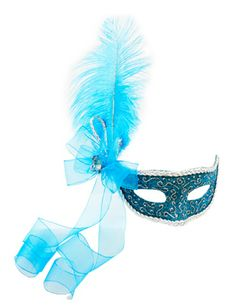 Antifaz con diamantina y pluma azul / Turquesa para quinceañera