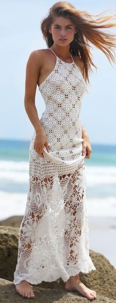 Miss-June - white crochet maxi dress