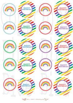Printable Cupcake Toppers: Rainbow Birthday