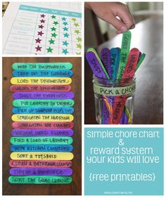 Simple Chore Chart and Reward System Your Kids Will Love via Clean Mama --My version is. All daily chores tablet or TV, all chores all week = 35 min for unfinished days), 4 extra chores each week = popcorn n movie or special dessert Chore Rewards, Kids Rewards, Chore List, Reward System For Kids, Reward Coupons, Kids And Parenting, Parenting Hacks, Classe Dojo, Chore System