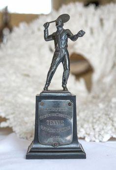 1930's Tennis Trophy Modern Minimalist, Minimalist Design, Vintage Sports Decor, Tennis Trophy, The Sporting Life, Masculine Interior, Ivy Style, Vintage Tennis, Victorian Design