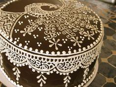 Mehndi Cake Toppers : Henna mehndi inspired chocolate cake cakes design
