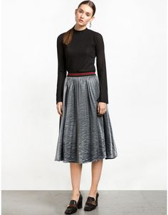 Grey Metallic Pleated Midi Skirt