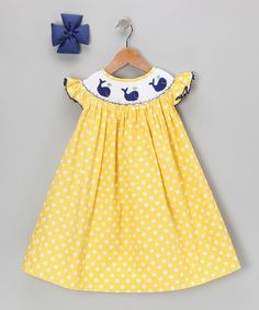 Take a look at this Yellow Polka Dot Whale Dress & Bow - Infant, Toddler & Girls by Molly Pop Inc. on #zulily today!